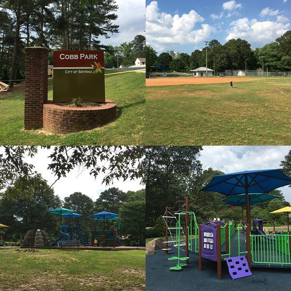 Several play areas and a baseball field at Cobb Park