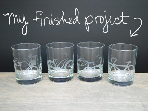 My finished craft project was a set of 4 rocks glasses, etched with bicycle designs