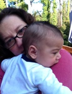 Drooling on Mama's shoulder. 02/2014
