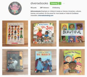 screenshot of Diverse Books Instagram account