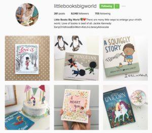 screenshot of Little Books Big World Instagram account