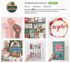 screenshot of The Little Book Collector Instagram account