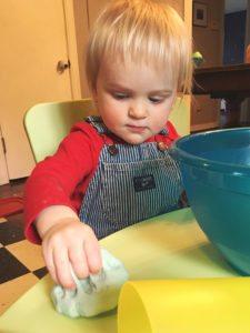 Toddler playing with Salt Dough