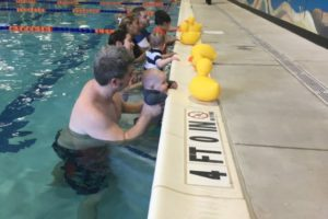 Learning to get back to the pool wall. A basic but important part of learning to swim