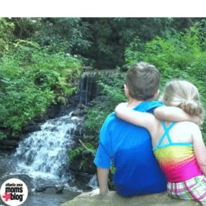 Kids at waterfall at Enota Mountain Retreat