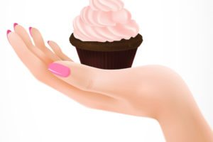Realistic illustration of cameo pink cream cupcake on woman palm. Cooking, tasty dessert, treat. Celebration concept. Design element for greeting cards, posters, leaflets and brochures