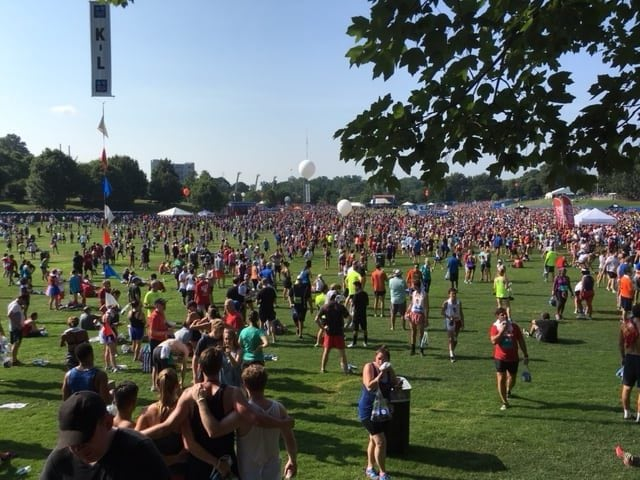 Enjoy your accomplishment of completing a 6.2-mile course by relaxing in the shade and watching fellow Atlantans.