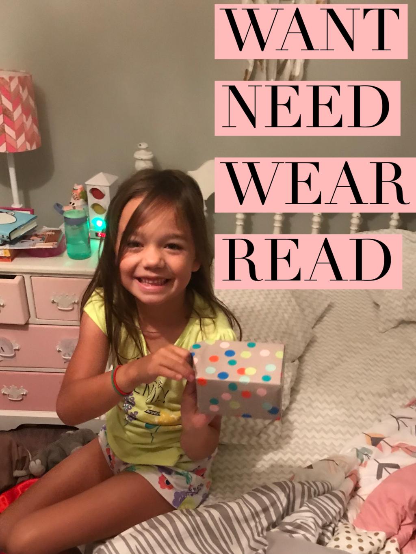 Want, Need, Wear, Read