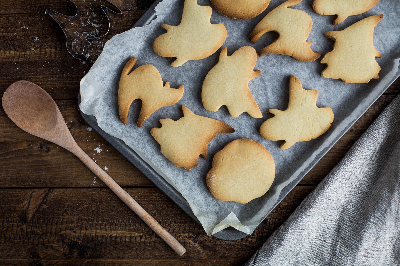 Halloween cookies on a baking sheet