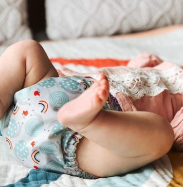 cloth diapering baby