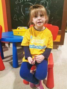 Preschool-aged girl at Goldfish Swim School in Roswell, GA